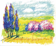 Watercolor summer rural landscape vector illustration Stock Images