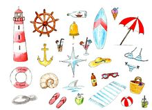 Watercolor summer sea beach set. Summer funny design elements. stock illustration