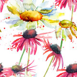 Watercolor Summer seamless pattern Royalty Free Stock Images