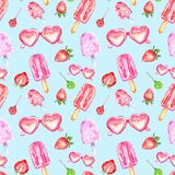 Watercolor summer seamless pattern with sweet popsicles, candy, sunglasses and srtawberry on blue background. royalty free illustration