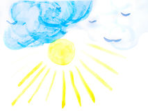 Watercolor Summer Sky and Sun Stock Photo