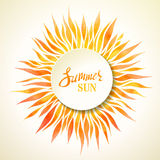 Watercolor summer sun background. Royalty Free Stock Images