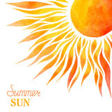 Watercolor summer sun background.