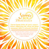 Watercolor summer sun background. Stock Photos