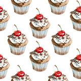 Watercolor summer sweet chocolate cupcake pattern. On white background Royalty Free Stock Images