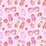 Watercolor summer sweet dessert seamless pattern with sweet popsicles, candy, sunglasses and srtawberry on pink background. royalty free illustration