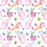 Watercolor summer sweet desserts seamless pattern. Pink background with ice cream in a cone, milk berrie smoothie and cupcakes royalty free illustration
