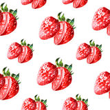 Watercolor summer sweet strawberry pattern. On white background Royalty Free Stock Photo