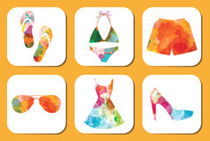 Watercolor summer vacation clothes and accessories set. Stock Photo