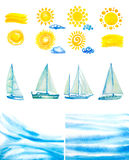 Watercolor sun,clouds,yachts. Set of watercolor sun,clouds,yachts,abstract water waves Royalty Free Stock Photos