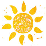 Watercolor sun with hand lettering text enjoy Royalty Free Stock Photo