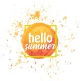 Watercolor sun Hello summer Royalty Free Stock Photos