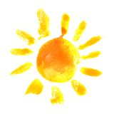 Watercolor sun icon. Hand drawn watercolor sun icon vector illustration