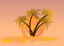 Watercolor sun with palm tree. Vector Stock Photo