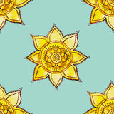 Watercolor sun pattern. Vector seamless pattern with hand drawn watercolor flowers Royalty Free Stock Photography