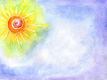 Watercolor the sun in the sky. Watercolor a sotnets on a background of the blue sky Stock Photo