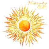 Watercolor sun vector illustration. Royalty Free Stock Photos