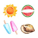 Watercolor sun, watermelon, shell, ice cream. Watercolor summer elements. Vector illustration Vector Illustration