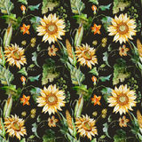 Watercolor sunflower pattern Royalty Free Stock Photography