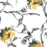 Watercolor sunflower pattern Stock Images