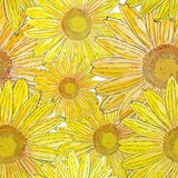 Watercolor sunflowers flowers seamless pattern Royalty Free Stock Images