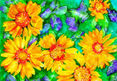 Sunflowers Watercolor Royalty Free Stock Images