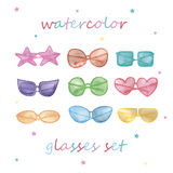 Watercolor sunglasses set. Hand painted on white Stock Photography