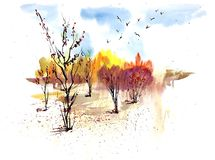 Watercolor sunny autumn landscape with golden trees and blue sky royalty free illustration