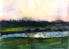 Watercolor sunrise over the river. Watercolor illustration of a beautiful sunrise over the fields and river royalty free illustration