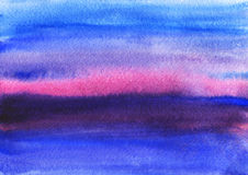Watercolor sunset Stock Image