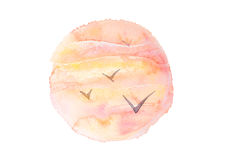 Watercolor sunset sky and gulls in circle composition. Artistic tropical sunrise, round illustration isolated on white Royalty Free Stock Photography