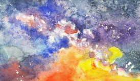 Watercolor sunset sky with stars and milky way. Colorful watercolor sunset sky with milky way and stars Royalty Free Stock Image