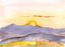 Watercolor sunset or sun rise in mountains