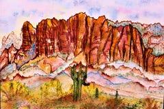 Watercolor Superstition Mountains Wilderness Area Phoenix Arizona. Watercolor of surrounding landscape range of Superstition Mountains federally designated vector illustration