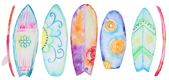 Watercolor Surfing boards Stock Photos