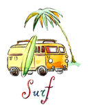 Watercolor surfing car Royalty Free Stock Photography