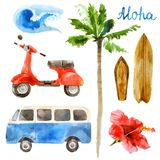 Watercolor surfing set in retro style royalty free illustration