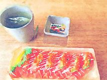 Watercolor sushi fish salmon set on white dish Stock Photos