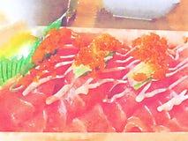 Watercolor sushi fish set Royalty Free Stock Images