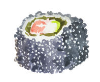 watercolor sushi roll. Royalty Free Stock Image