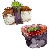 Watercolor sushi set of beautiful tasty japanese food illustration. Hand drawn objects isolated on white background. Watercolor sushi set of beautiful tasty royalty free illustration