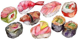 Watercolor sushi set of beautiful tasty japanese food illustration. Hand drawn objects isolated on white background. Watercolor sushi set of beautiful tasty stock illustration