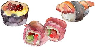 Watercolor sushi set of beautiful tasty japanese food illustration. Hand drawn objects isolated on white background. Watercolor sushi set of beautiful tasty vector illustration