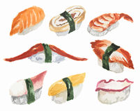 Watercolor sushi set. Royalty Free Stock Images