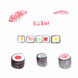 Watercolor sushi Stock Images