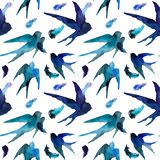 Watercolor swallows and feathers in seamless pattern