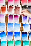 Watercolor swatch ink dye color mix art background stock photos