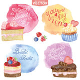 Watercolor sweet cakes.Holiday carts set Stock Photography