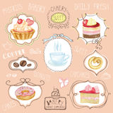 Watercolor sweet cakes label set.Cafe logo Stock Photography