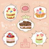 Watercolor sweet cakes label set Royalty Free Stock Images